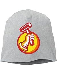 【Dera Princess】ユニセックス ニット帽 Union Worker Hand Holding Hammer Circle Retroロゴ コットン ニットキャップ 帽子 オールシーズン 被れる