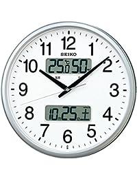 セイコー クロック 掛け時計 電波 アナログ カレンダー 温度 湿度 表示 銀色 メタリック KX235S SEIKO