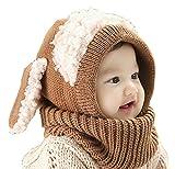 【Ludus Felix】選べるカラー 5色 ウサギちゃん 子羊 ニット帽 ニット帽子 ベビー キッズ 赤ちゃん 子供 用 ケープ 一体型 マフラー ネックウォーマー フード  【ボア部分がふわふわで気持ちいい!】【頭&首まであたたか】 (ブラウン)