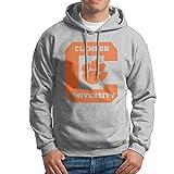メンズ トレンチコート Phoebメンズスポーツウェアドローストリングフード付きスウェットシャツ、Clemson University Ash