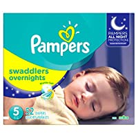 Pampers Swaddlers Overnights Diapers Size 5, 52 Count by Pampers