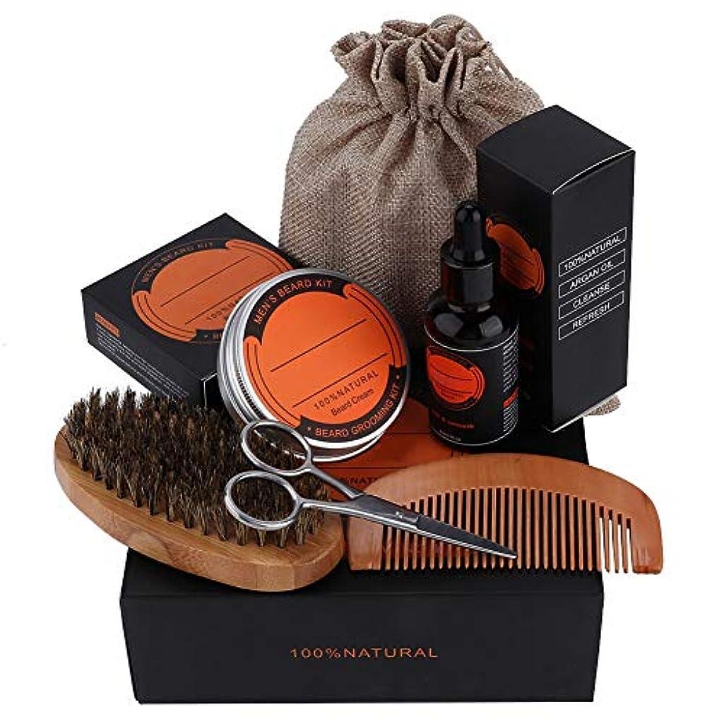 フェンス過言荒れ地ひげグルーミングキット、6ピースアップグレードされたひげ成長グルーミングおよび男性用トリミングケアキットひげコンボセットには、ヒゲバーム(60g)、ヒゲ油(60ml)、くし、ヒゲブラシ、シザーおよびバッグが含まれています