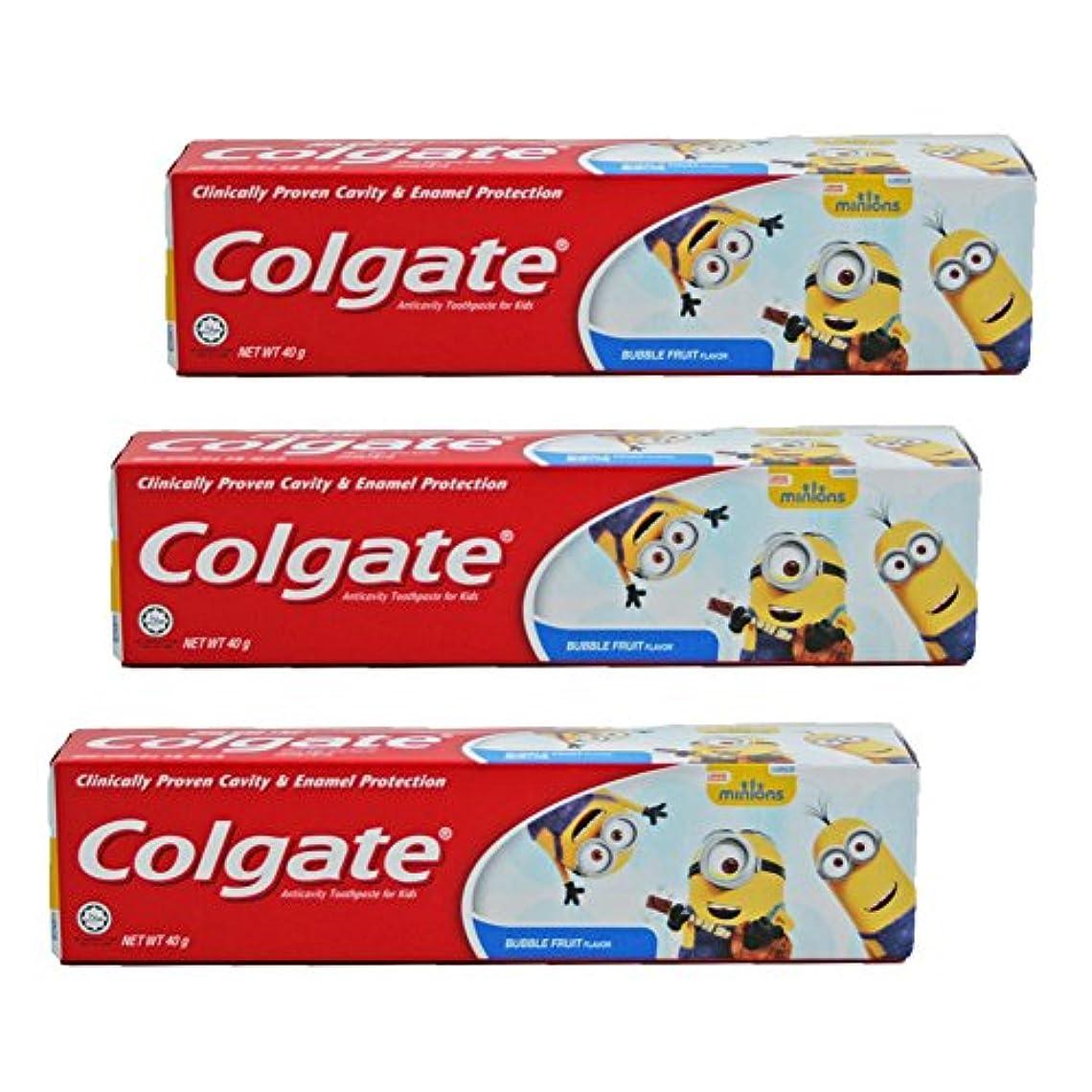 宿命休眠アプトコルゲート Colgate 子供用 Kids-BUBBLE FRUIT FLAVOR (ミニオン, 40g) 3個セット [並行輸入品]