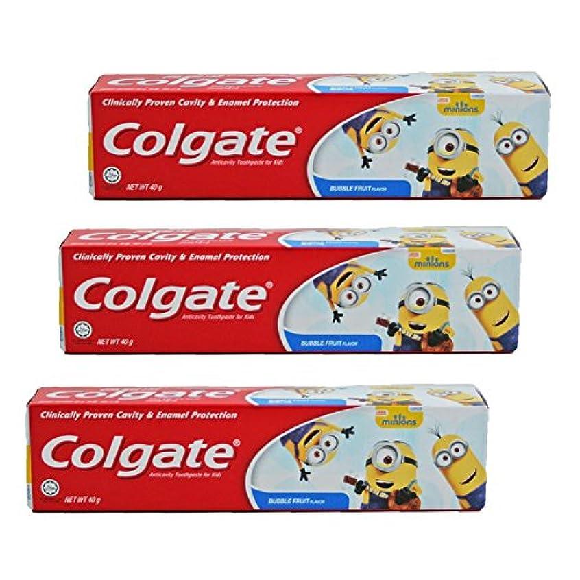 ギャザー質量染色コルゲート Colgate 子供用 Kids-BUBBLE FRUIT FLAVOR (ミニオン, 40g) 3個セット [並行輸入品]
