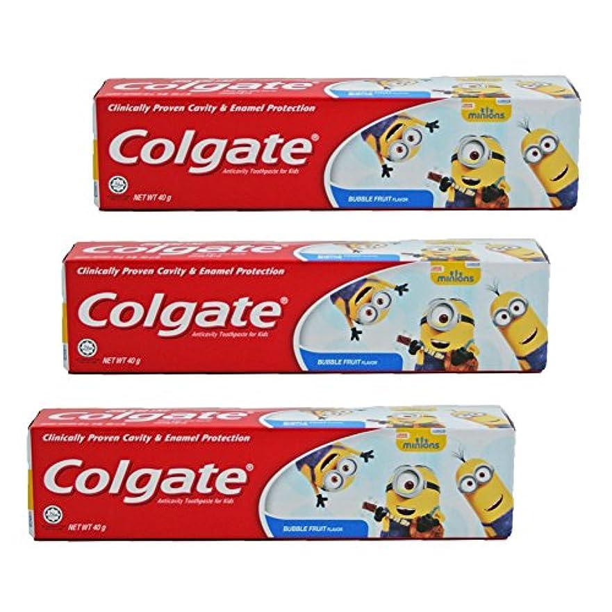 吸収するジャンク平野コルゲート Colgate 子供用 Kids-BUBBLE FRUIT FLAVOR (ミニオン, 40g) 3個セット [並行輸入品]