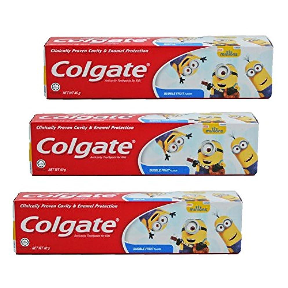 自宅で協力する災難コルゲート Colgate 子供用 Kids-BUBBLE FRUIT FLAVOR (ミニオン, 40g) 3個セット [並行輸入品]