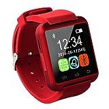 最新式 Bluetooth smart watch U8 スマート ウォッチ 1.44インチ 超薄型フルタッチ ウォッチ着信通知/置き忘れ防止/歩数計/消費カロリ/アラーム/時計 WATCH-144 (レッド)