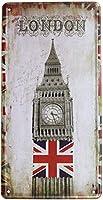 ロンドンビッグベン英国レトロヴィンテージメタルティンサインアートプレートプラークホーム壁の装飾