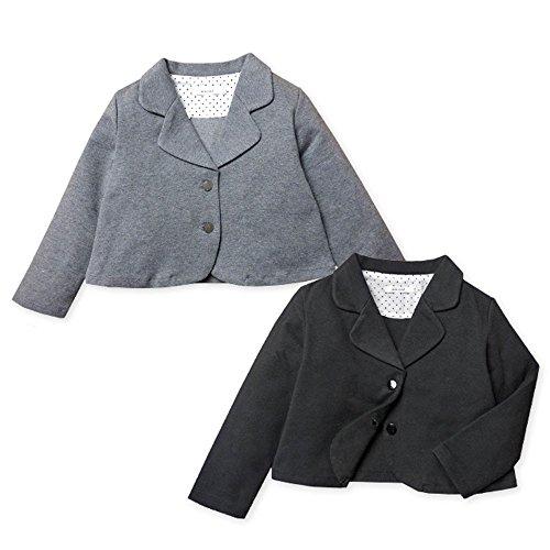 (ブラック/110cm)子供服 女の子 アウター 前開きボタン セレモニー ジャケット 長袖 フォー...