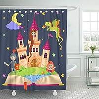 """66"""" x72""""シャワーカーテン防水バスルーム家の装飾ピンクのおとぎ話の城プリンセスナイトマーメイドドラゴンフェアリーチャイルドファブリック 165X180 CM"""