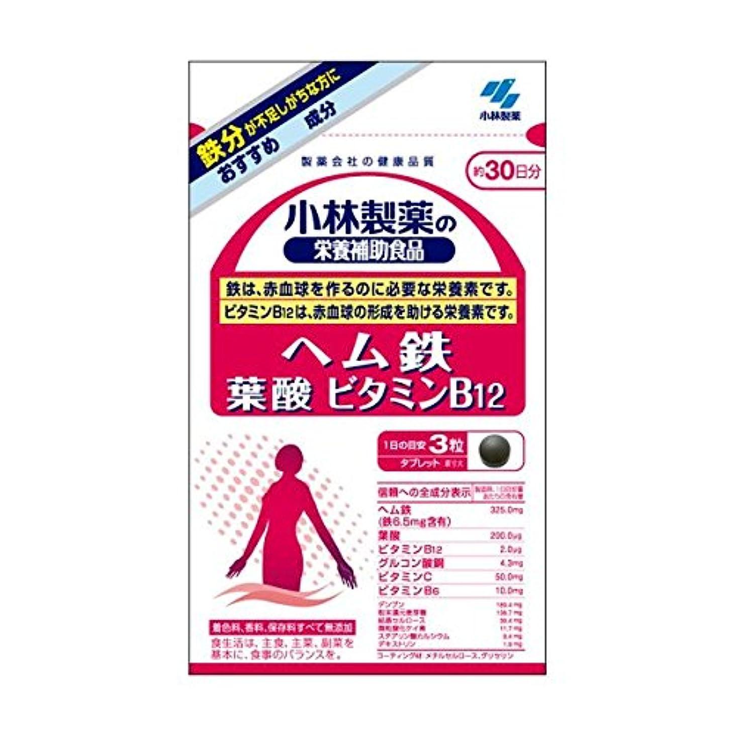 絵基準ビーチ小林製薬 小林製薬の栄養補助食品ヘム鉄葉酸ビタミンB12 90粒×2