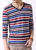 (アーケード) ARCADE メンズ 先染めボーダー Tシャツ 春 夏 Vネック 半袖 7分袖 カットソー S (七分袖)3-多色-マルチボーダー