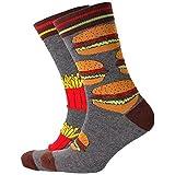 lijietian 靴下 メンズ ソックス スニーカーソックス クール カジュアル スポーツ カラフル おしゃれ 面白い 通気性 快適 男性用フライドポテト+ハンバーガー