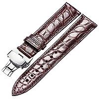 シルバー316Lステンレス展開バックルと男性と女性の交換のための20ミリメートルブラウン本物のクロコダイル時計バンド
