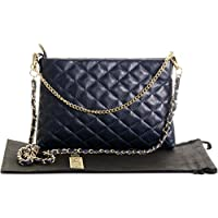 Primo Sacchi® Ladies Italian Soft Quilted Leather Hand Made Slim Long and Short Strapped Shoulder Bag Handbag. Includes a Branded Protective Storage Bag