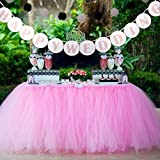 BJHG ORIGINALS 1 Tutu Table Skirt + 1 HAPPY WEDDING Banner, Pink Queen Snowflake Tulle Tutu Table Skirt Princess Wedding Decor, Wedding Paper Flags HAPPY WEDDING Outdoor Wedding Party Decoration