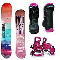 ModernAmusement lady スノーボード3点セット オレンジ140+bi18ピンク+bo17ブラック230