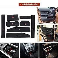 カップホルダーライナー用カスタムフィット Land Rover Evoque 12-15ドアスロットパッドセンターコンソールマットインテリアアクセサリー防塵アンチスリップレッド (8個) 黒