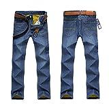 Spinas(スピナス) メンズ 冬  あったか 裏ボア ストレート デニム ボトムス ジーンズ 全2色 (ブラック、ブルー) (34, ブルー)