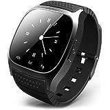 bluetooth 腕時計 ブルートゥースウォッチ スマートウォッチ ハンズフリー通話、時刻表示、置き忘れ通知、着信知らせ、温度計、距離測定 男女兼用腕時計 ブラック