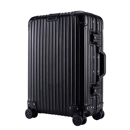 クロース(Kroeus)キャリーケース スーツケース アルミ・マグネシウム合金ボディ TSAロック搭載 高品質 多段階調節キャリーバー 大容量 8輪 360度自由回転 S型機内持込可 20 ブラック