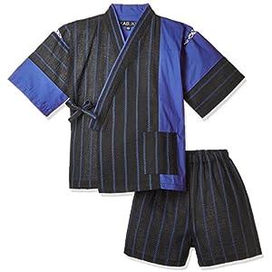 (カブク) KABUKU(カブク) キッズ甚平 青ー2 KBK-1746 005BB ブラックにブルー 110
