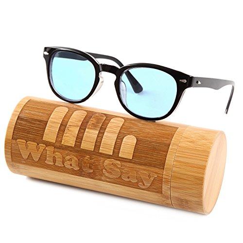What Say ウェリントンフレーム カラー レンズ サングラス クリアレンズ 伊達メガネ 全11色 アジアンフィット トレンド UV400 メンズ レディース ソフト&ハードケース 付 (ライトブルー/ブラック)