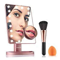 (Rose Gold) - Easehold Lighted Makeup Vanity Mirror with 10X Magnification Mirror Bonus Beauty Brush and Sponge Set (Rose Gold)