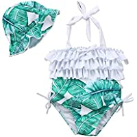 Baby Girl Leaf Swimsuit Ruffles Swimwear Halter Bathing Suit One Piece Bikini With Sun Hat For Toddler Girls Beach Wear