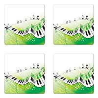 音楽コースターセットの4つのby Ambesonne、音楽ピアノキーCurvy Fingerboard Summertime Entertainment Flourish正方形、ハードボードグロスコースターfor Drinks、ライムグリーンブラックホワイト