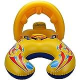 UNOPRO 浮き輪 親子用 うきわ プールボート 足入れ プール?海?川 泳ぎトレーナー タンデムリング 屋根付き ハンドル付き おもちゃ