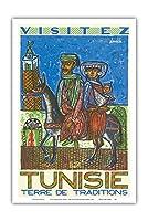 訪問チュニジア - 伝統の国 - ビンテージな世界旅行のポスター によって作成された ハテム・エル・メッキ c.1954 - アートポスター - 31cm x 46cm