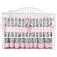 7 Pieces Set Ruffle Grey Pink Floral Baby Crib Nursery Bedding Set Ruffle Sheet [並行輸入品]