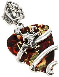 ジナブリング (JINA BRING) ハード ペンダント シルバー925 ジルコニア 鼈甲 ピック ギブソン Gibson ギター ピックケース 王冠 クラウン リバーシブル 百合の紋章 ペンダント メンズ レディース