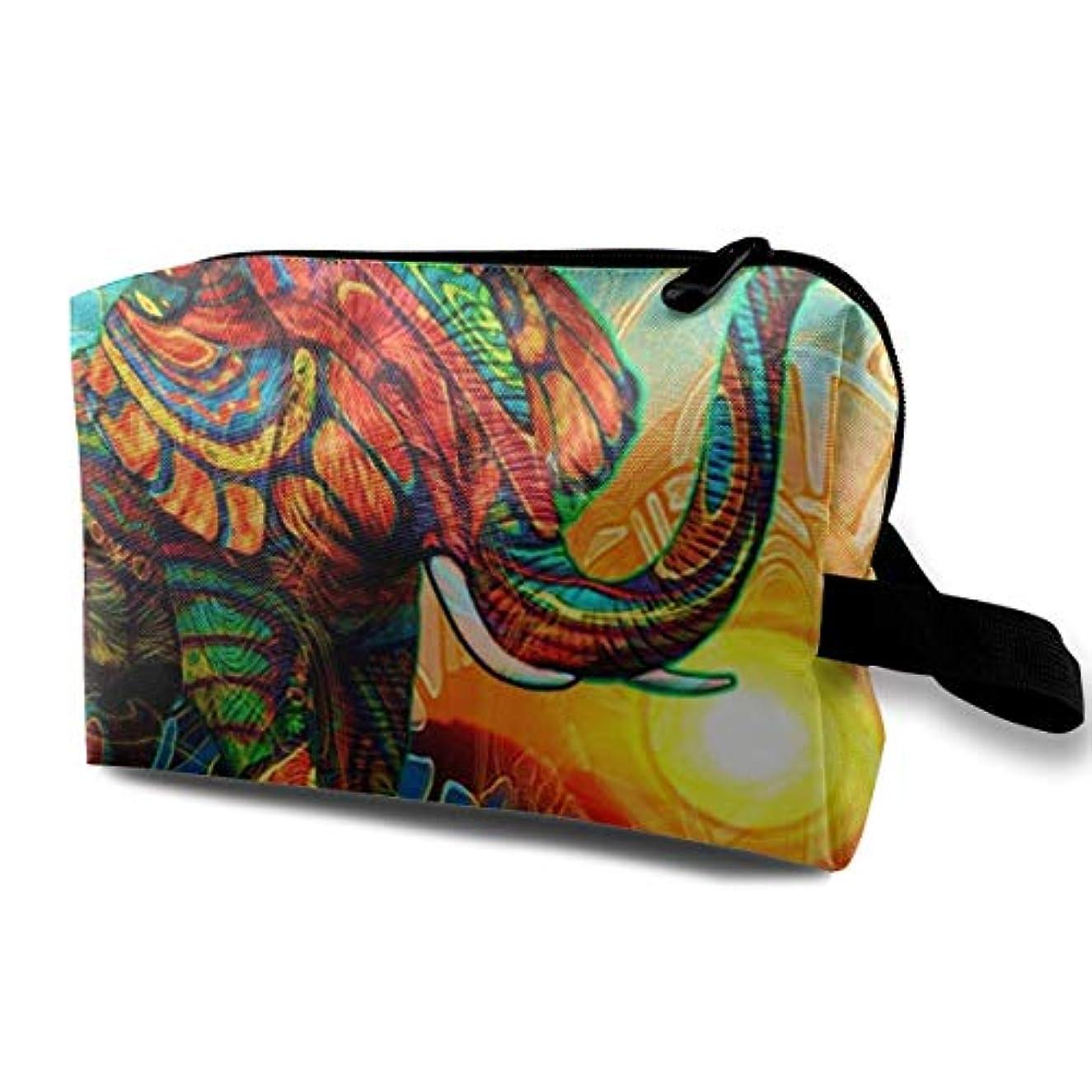 過敏な理解ブルジョンCool Design Colorful Elephant 収納ポーチ 化粧ポーチ 大容量 軽量 耐久性 ハンドル付持ち運び便利。入れ 自宅?出張?旅行?アウトドア撮影などに対応。メンズ レディース トラベルグッズ