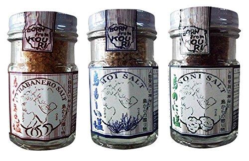 島の塩 60g 3種セット(島ハバネロ・島もーい・島のに) ×8セット 渡具知 無添加 海洋深層水・サンゴカルシウム配合 沖縄県産品をブレンドしたフレーバーソルト 沖縄土産に最適な詰め合わせ