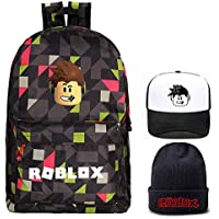 Roblox Backpack with Baseball Cap and Knitted hat, Student Bookbag Laptop Backpack Travel Bag Rucksack Daypack for Boys Girls Kids Teens