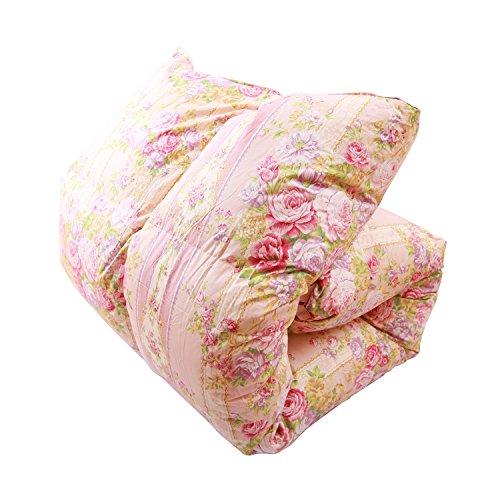 羽毛布団 国産 シングル ピンク 柄おまかせ ニューゴールドラベル90% 増量タイプ1.4kg 綿100% 150×210 パワーアップ加工 シングル 羽毛掛け布団 布団 ふとん 19026SP -