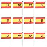 【ノーブランド 品】12枚 14×21cm 国旗 手振り旗 スペイン国旗  国家バナー