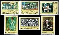 【無目打】ピカソの絵画切手/ベトナム1986年6種完(済) ゲルニカなど