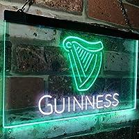 Guinness Ale Beer Bar LED看板 ネオンサイン バーライト 電飾 ビールバー 広告用標識 ホワイト+グリーン 40cm x 30cm