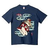 POISON APPLE プリント Tシャツ ピンナップ ブルー 和柄 金魚姫 メンズ 半袖 0217 M インディゴ A