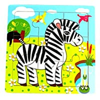 HuaQingPiJu-JP かわいい木製の教育的なパズルアーリーラーニングの数字の形の色の動物のおもちゃ子供のための素晴らしいギフト(ゼブラ)