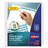 Avery Extra-Wide Dividers Ink Jet Printer White 5-Tab 9 x 11 Inches 5 Sets (11440) 【Creative Arts】 [並行輸入品]