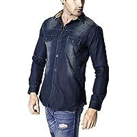 LANBAOSI Men's Long Sleeve Snap Front Pocket Denim Work Shirts