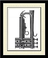 'トランペット' Musical Instrument Tripleつや消しフレーム入り印刷–マイケル・Ditlove 20x 23
