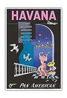 ハバナ、キューバ - パンアメリカン航空 - ビンテージな航空会社のポスター によって作成された メンドーサ c.1950s - アートポスター - 33cm x 48cm