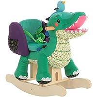 Labebe ベビー用ウッドロッキングホース 1-3歳のキッズ用木製木馬 柔らかいシート ASTM/CE安全認定 - ワニ
