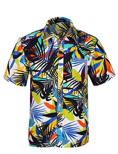 APTRO(アプトロ)アロハシャツ 半袖シャツ メンズ オシャレ メンズシャツ フローラル ワイシャツ プリントシャツ ハワイ風 花柄シャツ 通気速乾 UV対策 ST19ホワイト JP L(タグ S)