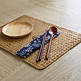 DOKOT Natural Seagrass Hand-Woven Rectangular Rattan Place Mats Set of 4